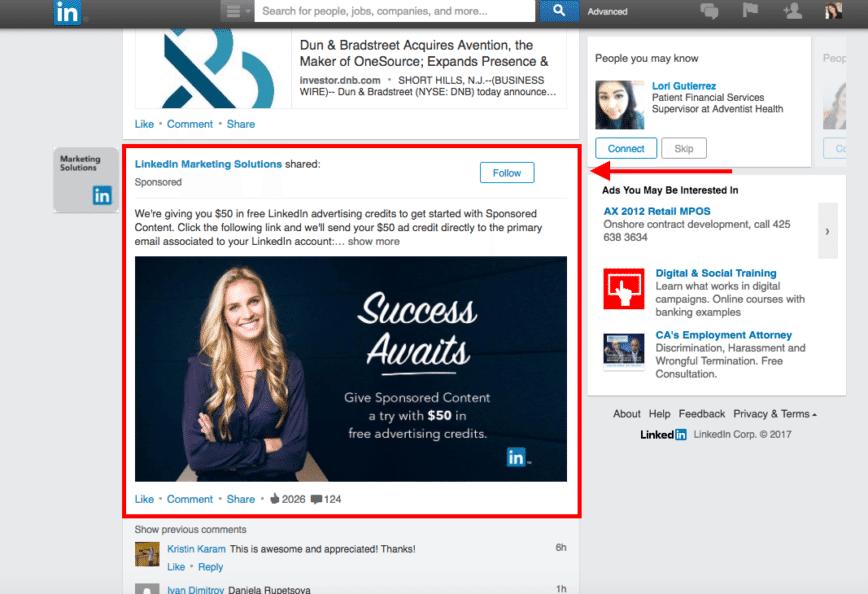 sponsored content - linkedin para empresas