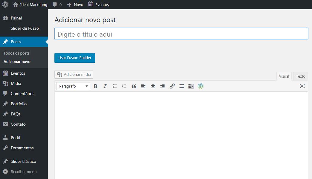 adicionar novo post wordpress