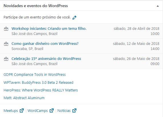 novidades e eventos no wordpress