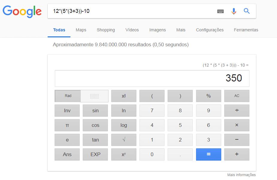 Pesquisa avançada no Google Calculadora