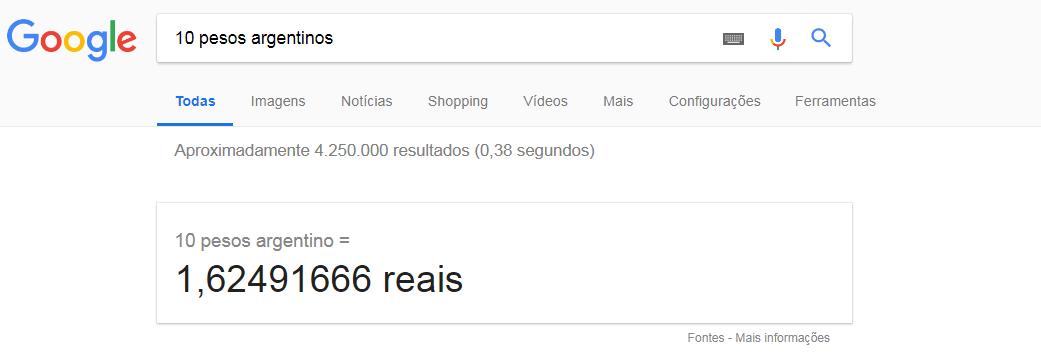 Pesquisa avançada no Google conversor de unidade