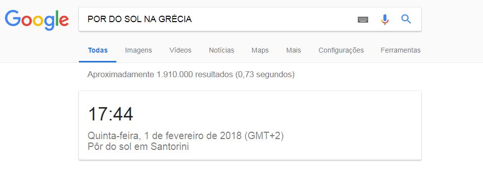 Pesquisa avançada no Google por do sol