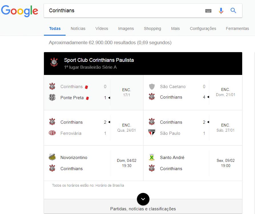 Pesquisa avançada no Google resultado de partidas