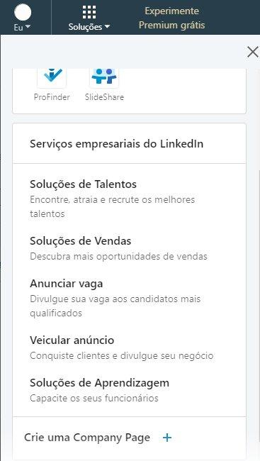 company page - criar conta no linkedin