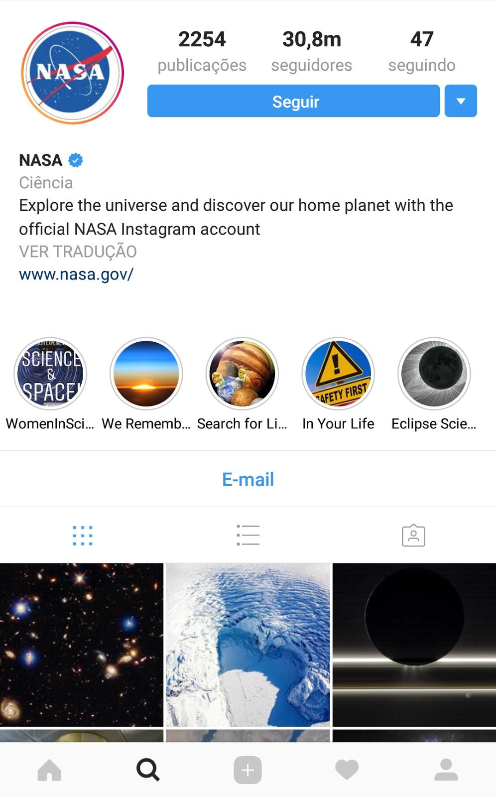 nasa - tamanho de imagens para instagram