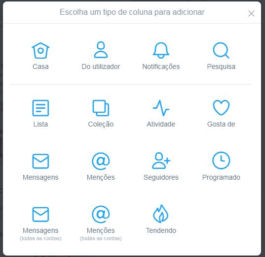 Tipos de colunas no TweetDeck