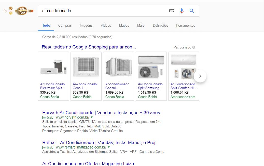 Exemplo 1 Google Shopping