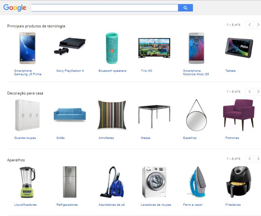 Exemplo 2 Google Shopping