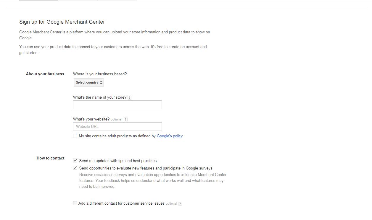 Exemplo Google Merchant Center