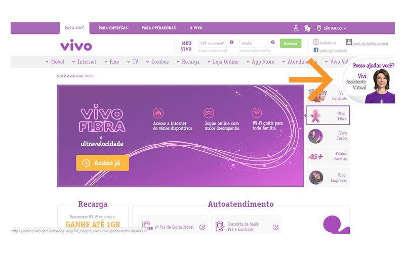Exemplo de chat web Vivo
