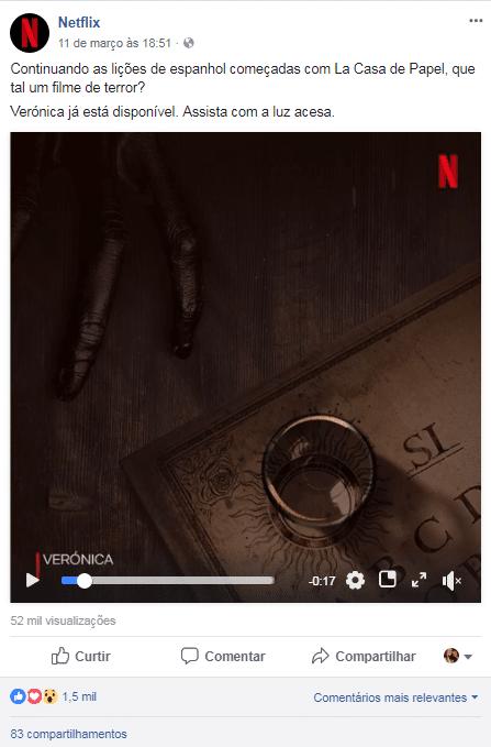 Exemplo de redes sociais Netflix