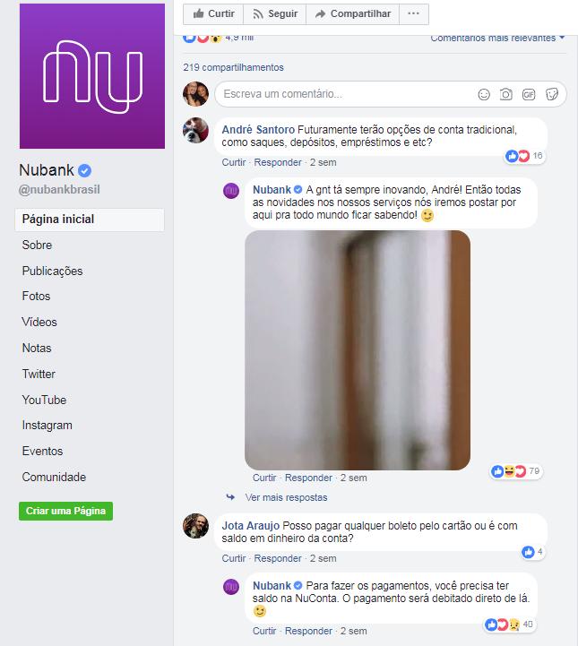 Exemplo de redes sociais NuBank