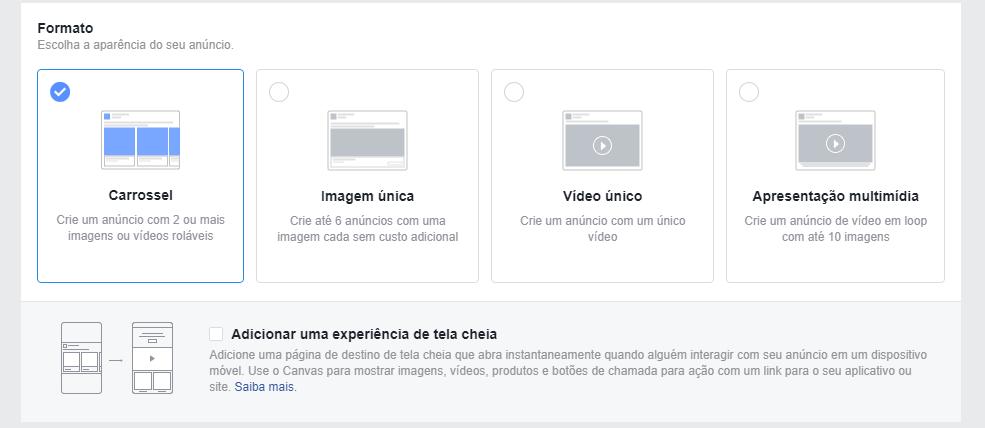 Conheça os diferentes tipos de publicações disponíveis do gerenciador de anúncios do Facebook Business