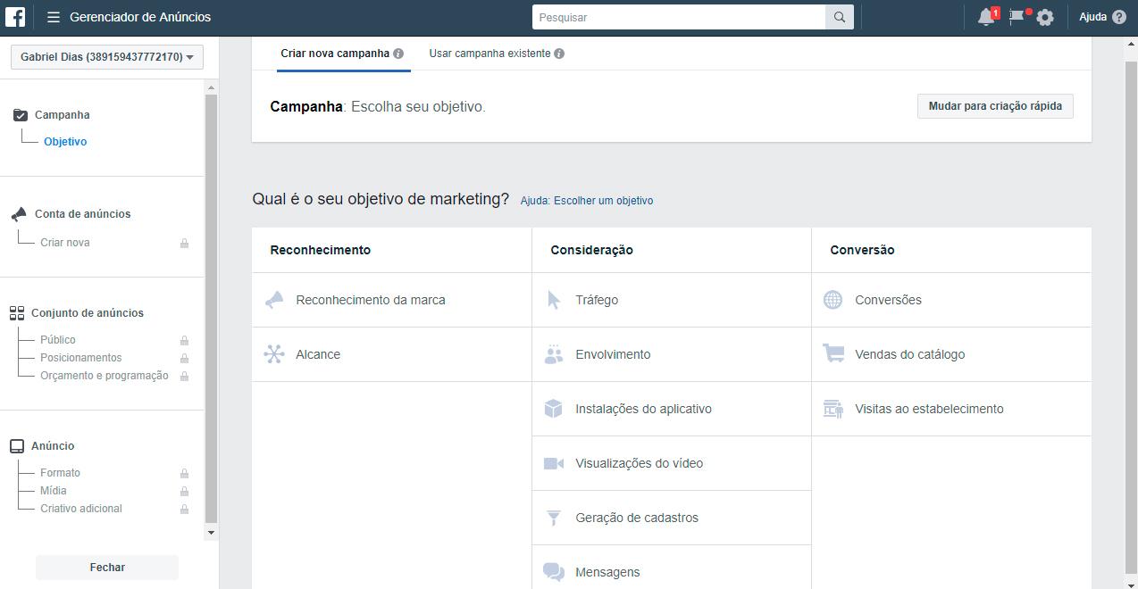 Saiba como definir o objetivo da sua campanha no gerenciador de anúncios Facebook Business